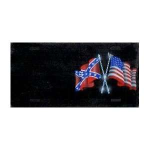 AMERICAN/REBEL FLAGS License Plate 1195 Automotive