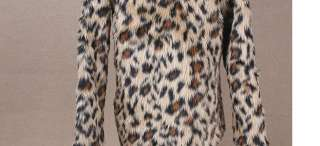 Ladies OPENING STYLE LEOPARD PRINT FAUX FUR COAT JACKET 1035