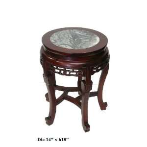 Red Brown Stone Top Round Stool End Table Ass836