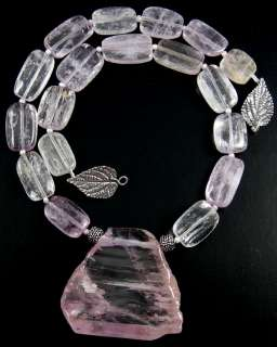 NATURAL AFGHAN PINK KUNZITE PENDANT NUGGET NECKLACE