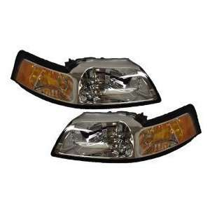 Chrome Headlight Set With Free Xenon Bulbs Driver/passenger Pair