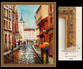 DOWNTOWN RAIN UMBRELLAS Original MODERN ART Oil Painting YARY DLUHOS