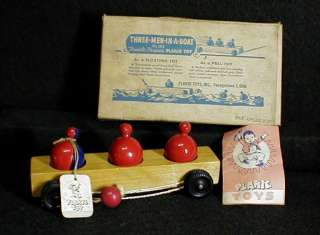 Antique Vintage NOS Plackie Wooden Pull Toy 3 Men In A Boat