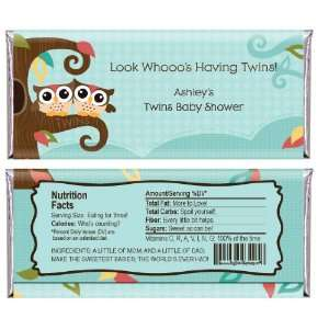 Owl   Look Whooos Having Twins   Personalized Candy Bar Wrapper Baby