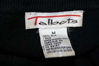 Women TALBOTS Cardigan Medium Sweater SILK Black Top Jacket Shirt Work