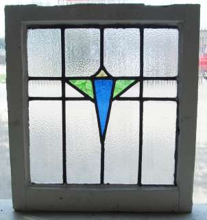 Antique Stained Glass Window Three Color Art Deco Diamond Bloom