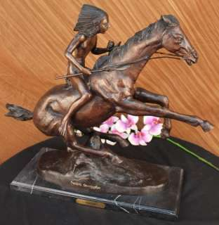 Signed Extra Large Remington Native American Warrior on Horse Bronze
