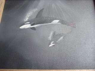 Original Orca Whale Oil Painting Canvas Driftwood Frame