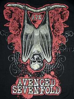 AVENGED SEVENFOLD A7X SKULL RED BAT T SHIRT MENS XL