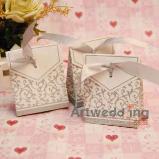12 PCS Square Silver and White Wedding Favor Boxes Ribbon Favor Candy