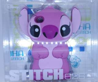 Disney 3D Stitch Movable Ear Flip Pink Hard Case Cover for iPhone 4