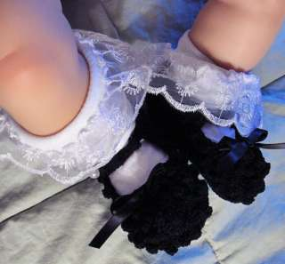 Black Mary Jane Crochet Baby Booties Reborn Doll Shoes