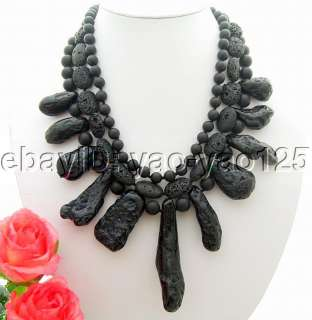 Amazing 3Strds Black Jasper&Black Volcano lava Necklace