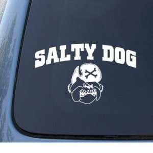 SALTY DOG   Vinyl Car Decal Sticker #1296  Vinyl Color White