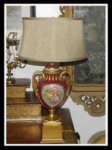 Unusual Antique Hand Painted French Porcelain Lamp NR