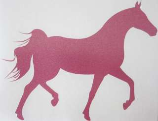 Med Pink Glitter Arabian Horse Trailer Decal Sticker