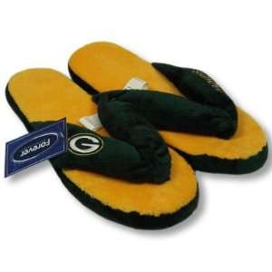 GREEN BAY PACKERS OFFICIAL LOGO PLUSH THONG SLIPPERS SIZE