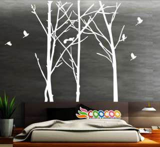 Decal Sticker Mural Removable Staggered Branch Tree Trunk birds 96