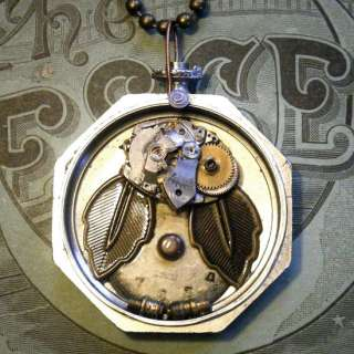 TRAPPED OWL~Steampunk Vtg Pocket Watch/Pocketwatch Case/Dial Art