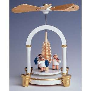 White Christmas Pyramid with Angels & Tree   1 Tier