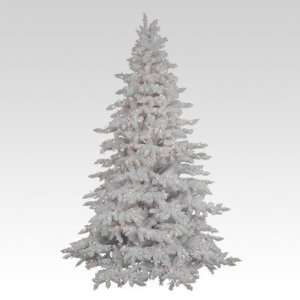 Flocked White Spruce Full Pre lit Christmas Tree