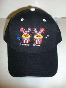 PUERTO RICO/W ROOSTERS ON DRUMS BLACK BASEBALL CAP