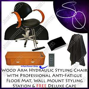 HYDRAULIC BARBER CHAIR WOOD STYLING STATION HAIR MAT BEAUTY SPA SALON