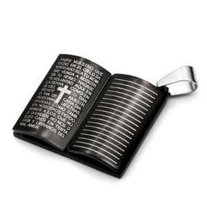 Mens Stainless Steel Black Cross Bible Book Pendant Jewelry