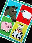 Crochet Patterns BARNYARD FARM ANIMALS COLORFUL (Horse/Sheep/Pig/Cow