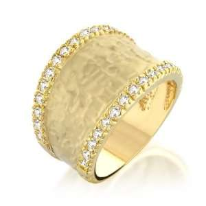 Bling Jewelry Pave CZ Hammered Gold Matte Ring (more sizes