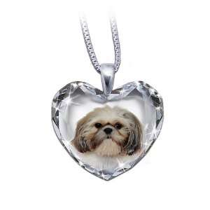 Heart Shaped Crystal Dog Pendant Necklace Shih Tzu, Close To My Heart