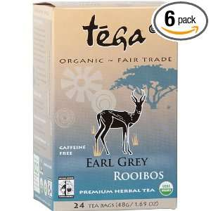 Tega Organic Earl Grey Rooibos, 24 Tea Bags, 1.69 Ounce (Pack of 6