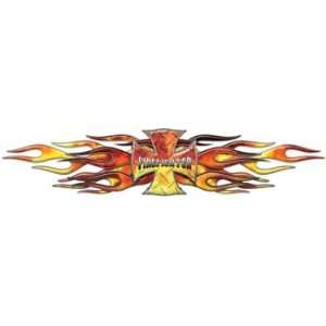 Flaming Maltese Cross Firefighter Decal   Fire   10 h x