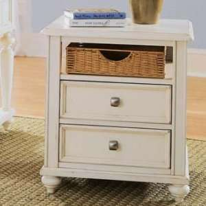 Drew Camden Antique White Wood Storage End Table Furniture & Decor