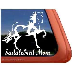 SADDLEBRED MOM ~ Pinto Saddlebred Horse Trailer Vinyl Window Decal