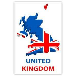 United Kingdom UK map flag car bumper sticker decal 4 X 6