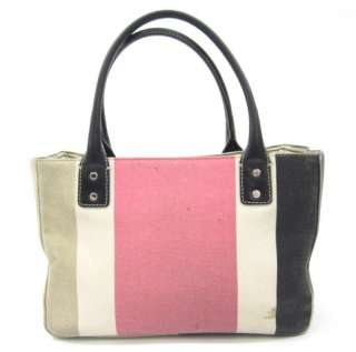 KATE SPADE Pink Brown Beige Canvas Tote Handbag Small