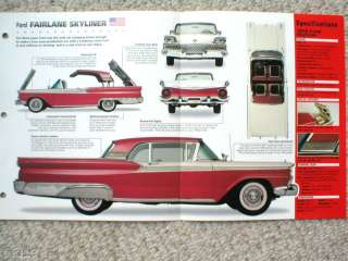 FORD FAIRLANE SKYLINER SPEC SHEET/Brochure1959,1958,
