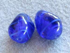 Pr Vintage Art Glass Beads, Cobalt Blue