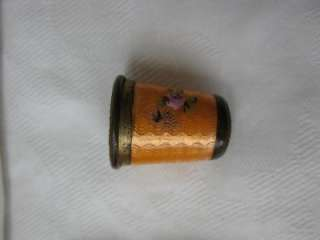 WONDERFUL VICTORIAN ART DECO SEWING THIMBLE CASE WITH ORANGE