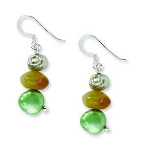 Silver Jade, Green and Light Grey Cultured Freshwater Pearl Earrings