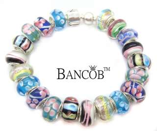 Bancob Colorful Flower Murano Glass Bead Bracelets 8 inch A04