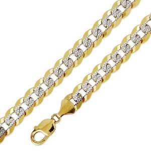 10K Solid Yellow White 2 Two Tone Gold Flat Curb Cuban