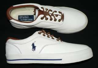 Polo Ralph Lauren Vaughn mens shoes soft leather sneakers new white 14