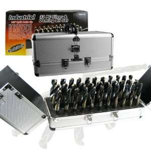 Shank, 33 Piece Silver and Deming Drill Bit Set with Aluminum Tool Box