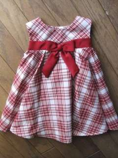 Baby Girls Red White Plaid Dress Velvet Bolero Jacket Bonnie Jean Size