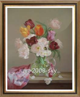 Original Oil painting Flower art Tulip on canvas 30x40
