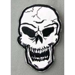 SKULL Face embroidery iron on patch, 6cm x 9.4cm (3.6x2.5