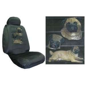 Car Truck SUV Pug Trio Dog Print Seat Covers 2 Charcoal Grey Universal