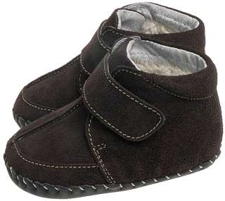 Boys Suede Leather Soft Sole Baby Shoes Boots   Brown with a Warm